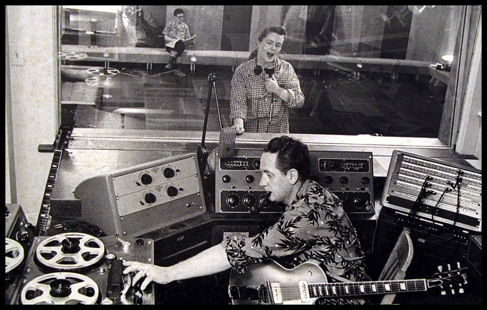 les paul e mary ford in studio di registrazione